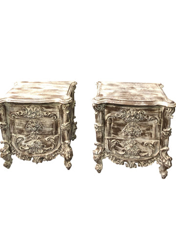 Lovely Pair Side Tables, SOHO, BOHO, Eclectic Floral Carved Gray Table Night Stand With Three Drawer Bedside Table