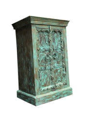 Distressed bLUE Rustic Wood Cabinet Hand-Carved Nightstand Chest Reclaimed Storage Cabinet Indian Inspired Furniture