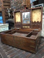 Antique Inlaid Jewelry Box With Mirror Beautiful Carved Chest Storage Chest Box Eclectic decor