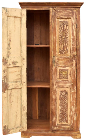 Rustic Chakra Armoire, Floral Carved Cabinet, Vintage Reclaimed Wood Handcrafted Storage Chest, Farmhouse Kitchen Decor 78X37