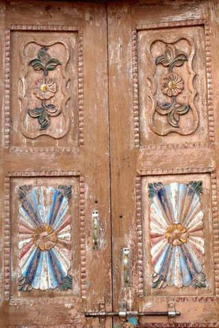 Antique Indian Door, Rustic Carved Teak Haveli Architecture Doors With Frame, Old World DOOR 98x54