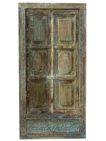 Antique Window, Blue Distressed Indian Jharokha, Wall Decor, Organic Natural Wooden Carved Window Architectural Decor