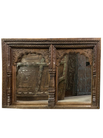Vintage Arch Mirror, Hand Carved Jharokha Wall Mirror, Earthy Natural Reclaimed Wood Carved Window Rustic Decor
