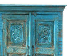 Rustic Blue Sideboard Hand Carved Chest Distressed Reclaimed Wood Console Buffet Farmhouse Storage Cabinet
