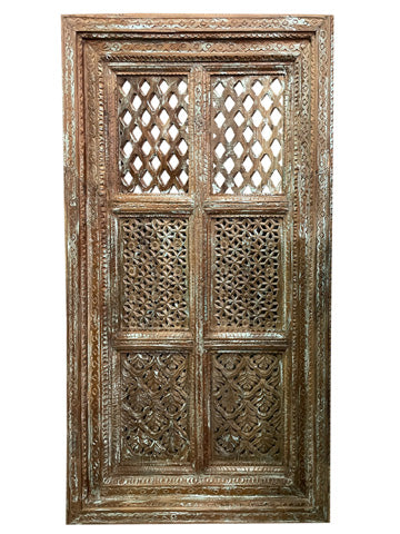 Vintage Jharokha, Wall Decor, Carved  Reclaimed Wood Window Floral Carving Architectural Rustic Home Decor