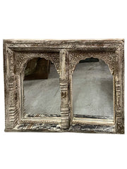 Vintage Arch White Wash Mirror, Hand Carved Jharokha Wall Mirror, Traditional Natural Reclaimed Wooden Carved Window MIRROR Rustic Decor