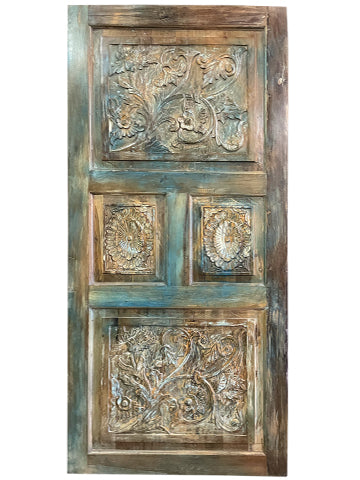 Vintage Indian Door, Carved Blue Door, Headboard, Rustic Teak Wood Panel, One of a Kind, Barn Door, Farmhouse Door Panel