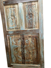 Vintage Indian Door, Blue Artistic Carved Barndoor, Farmhouse Door, Headboard Carved Rustic Wall Panel, Boho Chic Decor80x36