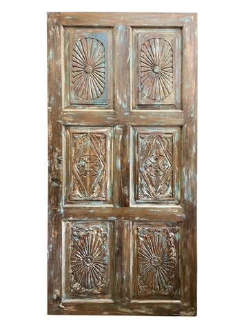 Vintage INDIAN Carved Door, Farmhouse BARNDOOR, Chankra Carved Rustic Wall Panel, Headboard, Blue Door, UNIQ 80x36
