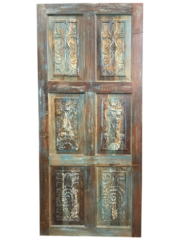 Vintage Door Panel, Rustic Farmhouse BARN DOOR, Sliding Door, Front Door, Carved Door, Artistic Wall Panel, Headboard, BOHO Home 80x36