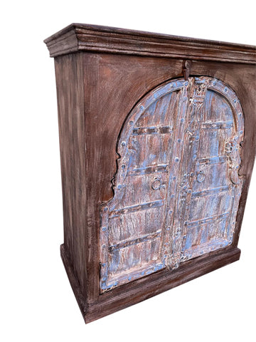 Rustic Sideboard Old World Elements Cabinet, TV Media Chest, Blue Doors, Farmhouse Kitchen Cabinet Storage