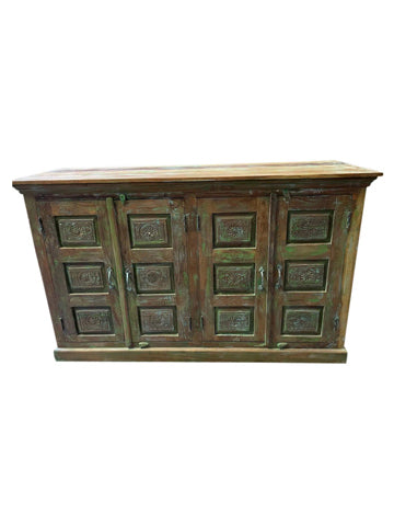 Rustic Green Sideboard, Carved Medallions Chest, Vintage Organic Wood Console Buffet Farmhouse Storage Cabinet