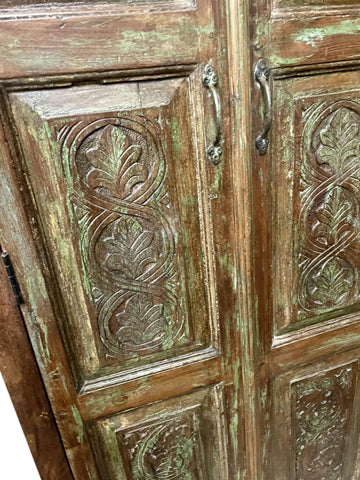 Antique Armoire, Artistic Carved Cabinet Rustic Boho Eclectic NATURAL WOOD Accent Storage Earthing Old World Design