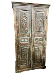 Antique Artistic Carved Cabinet, Rustic Blue Patina, Organic Accent Armoire, Kitchen Storage Old World Design