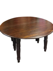 Antique Farmhouse Table, Round Dining Table, Burmese teak Table, 19c British Colonial