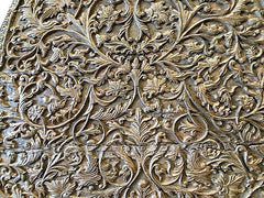 Antique Headboard Intricate Floral Carved Wood Bed Frame - mogulgallery