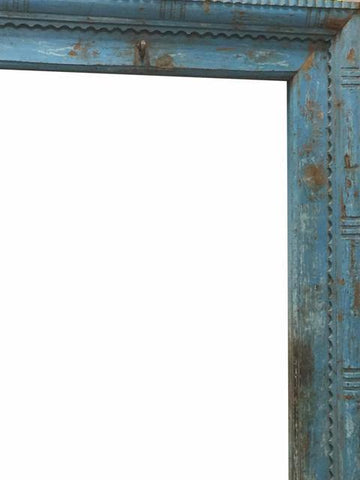 Antique Blue Haveli Door Frame - mogulgallery