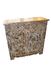 Vintage White Chest Sideboard Side Table NIGHTSTAND Hand Carved 2 Drawer Solid Wood Bohemian Farmhouse Design