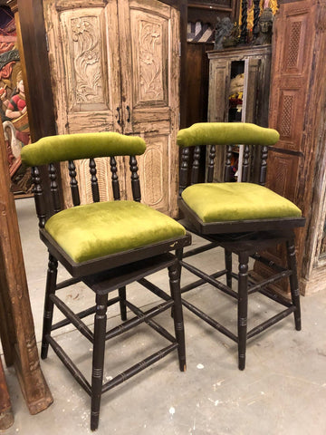 Antique Original Pair Revolving British Colonial Bar Stools, Farmhouse Rustic Counter Stools