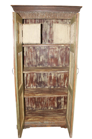 Old World Carved Armoire, Rustic Carved Floral Cabinet, Boho Farmhouse Cabinet, Unique Eclectic Chest, Reclaimed Wood