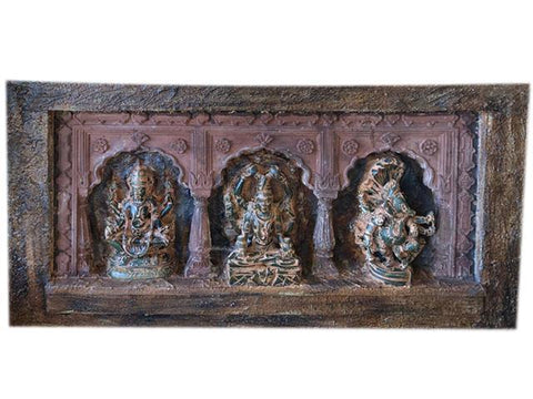 Antique Altar Original Rendering 3 Arch Hand made Artistic with Ganesha Shiva Vishnu - mogulgallery