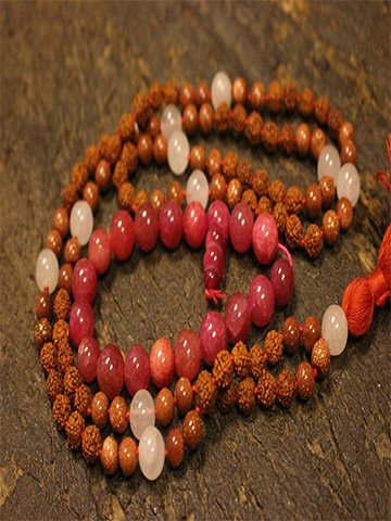 Ambition Sunstone Rose Quartz Rudraksha 108 Malabeads, Pink Jade Beaded Stretch Bead Bracelet, Yoga Jewelry