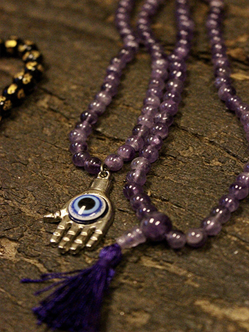 Amethyst Malabeads Evil Eye pendant, Yoga Spirituality Necklaces, Buddhist Mantra Carved Black Obsidion Bracelet