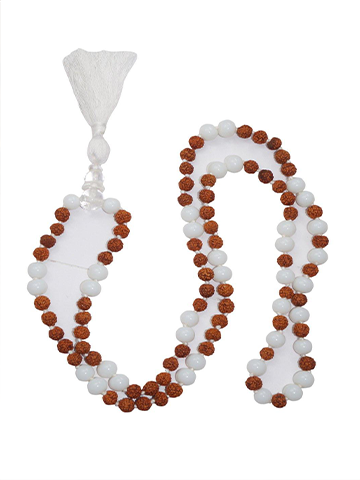Blancing Energy Hand Knotted Moonstone Rudraksha Yoga Mala Spiritual Jewelry Necklace