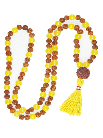 Buddhist Prayer Japamala Rudraksha Healing Yellow Jade Prayer Mala Bring Happiness