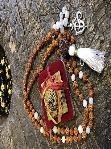 Buddhist Prayer Rudraksha White Moon STONE , Healing Meditation Mala, Bring Fortune With Brass Meru Sri YANTRA, Goddess Altar