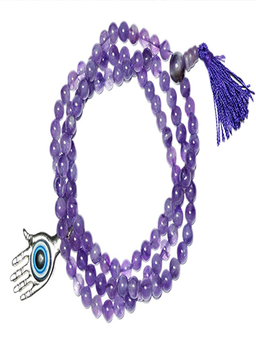 Buddhist Tibetan Mala Beads Amethyst Prayer Rosary 108 Hamsa Hand Protection Pendant