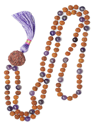 Chakra Necklace Prayer Mala Beads Meditation  Amethyst Rudraksha Prayer Mala