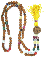 Healing Nine Planet Beads Navgraha Reiki Meditation  Japamala Yoga Necklace Wrap Wrist Mala 108+1