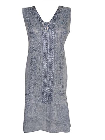 Womens Vintage rEtro 70s Shift Dress, Gray Sleeveless Dress, Front Embroidered Boho Chic Gypsy Dresses L