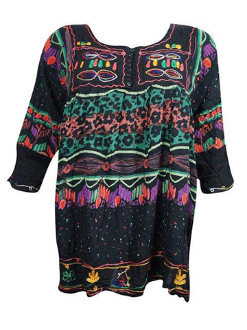 Babydoll Boho Dress Vintage 70s Funky Hippy Fashion Resort Coverup bLACK cOLORFUL loose dresses One Size SML