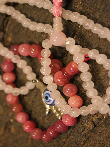 Love Mala, Rose Quartz Malabeads, Evil Eye Pendant, Unconditional Love Chakra, Pink Jade Beaded Stretch Bracelet Yoga Wrist Bracelet