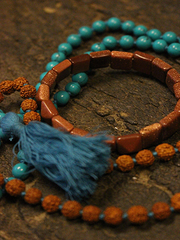 Yoga Kundalini with Rudraksha Turquoise Chakra Mala beads with Sun Stone Wrist Mala Pyramid shaped Bracelet for Enhance Your Energy