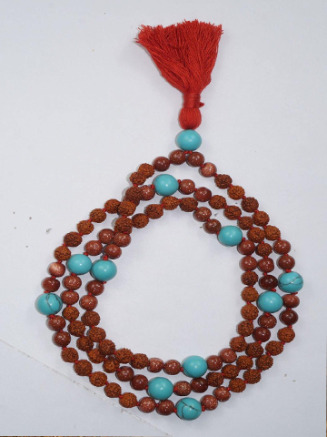 Love Protection Chakra Necklace Turquoise Sunstone Prayer Mala Beads Meditation Rudraksha Prayer Gemstone Mala Yoga