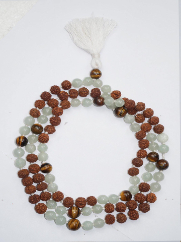 Yoga Mala Prosperity Green Jade Tiger Eye Rudraksha Gemstone Beads Spiritual Jewelry Necklaces