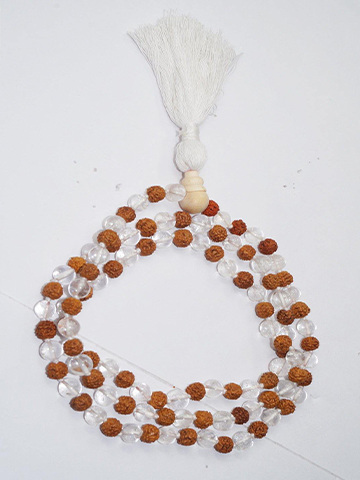 Shiva Shakti Yoga Mala Beads Natural Gems Himalaya River Sphatik Peace, Health and Spirituality Necklaces