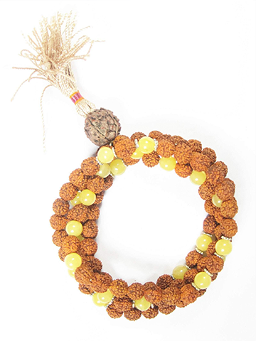 Yoga Jewelry Rudraksha Sunny Forest Yellow Jade Prayer Beads Japa Mala Beads Necklace