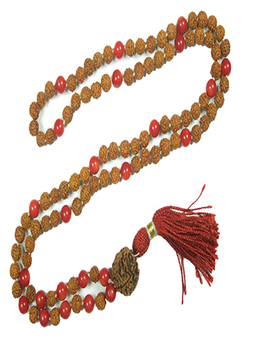 Meditation Prayer Mala Beads Red Coral Rudraksha Healing Chakra Stone Japamala Yoga Necklace