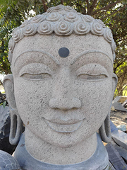 PRE ORDER-Natural Stone Protection Buddha Bust Garden Statue Handcarved Granite Stone Zen Outdoor Meditating Sculptures