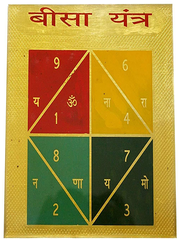 Durga Bisa Yantra VASTU Protects You From Negative Influence Blessings of Goddess Durga Gold Plated 7X7