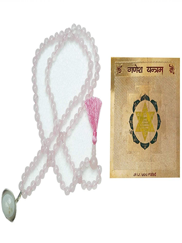 Goodluck Love Rose Quartz Malabeads Prayer Bead Vastu Sacred Geometry Ganesh Yantram