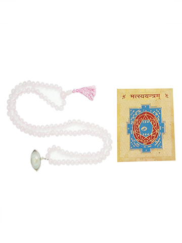 Prosperity ALTAR Rose Quartz Malabeads Prayer Beads Sacred Geometry Matsya Yantra AKA Vishnu