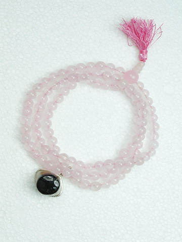Love Rose quartz mala Evil eye Protection pendant Mala Beads Spiritual Sacred Geometry Yantra