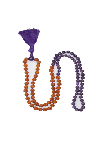 VEDAMALAS Yoga Meditation Amethyst 108 Mala Beads Tassel Necklace Spiritual Rudraksha Necklace Spiritual Awareness Mala