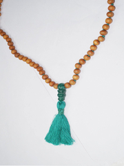Heart Chakra Mala Beads Green Aventurine & Sandalwood Necklace Tassel 108 Beads Meditation Necklace Handmade