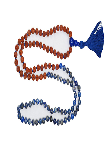 VEDAMALAS Lapis Lazuli Buddhist Jewelry Knotted Beads Tassel Necklaces Yoga Prayer Rudraksha Mala Necklaces